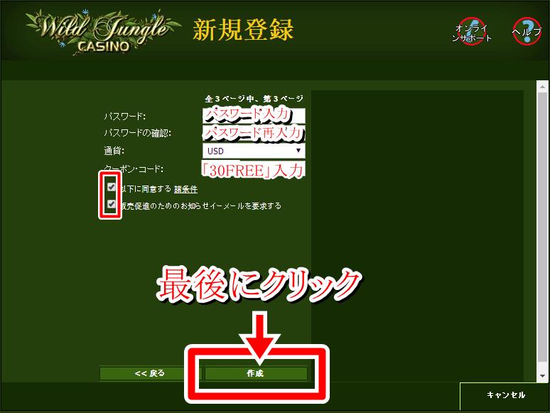 ワイルドジャングルカジノ登録画面4-2